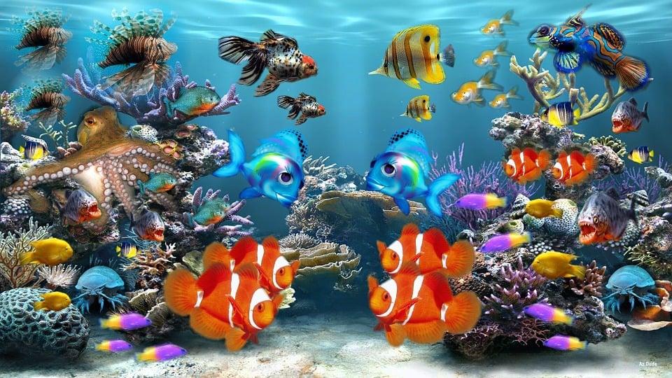 Ilustraci n gratis acuario peces pecera vida marina for Peces de pecera