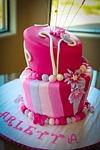 cake, layer, pink