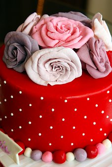 Red, Cakes, Flowers, Fondant