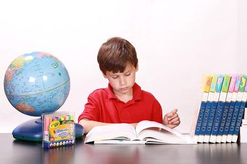 少年, 読書, 勉強, 書籍, 子供, 若いです, 小, 教育, 探して