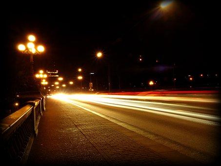 トラフィック, 自動車, 道路, 夜, ライト, スポットライト