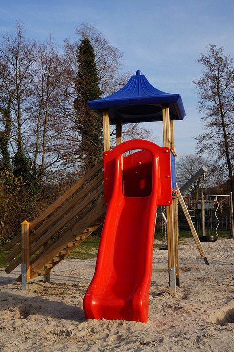 Playground Slide Tower Wood Plastic Colorful  C B Public Domain