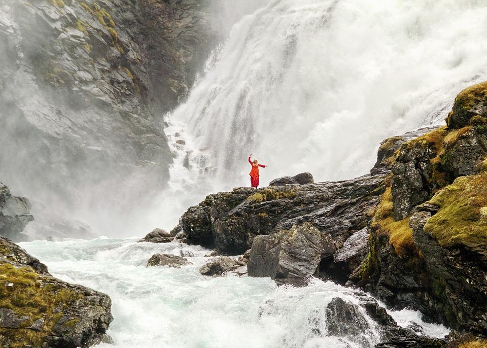 Dançarina, Cachoeira, Noruega, Rochas, Paisagem, Ermo