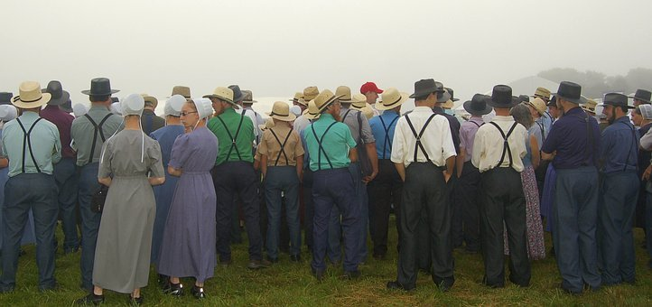 Amish Persons Man Women People Amish Gathe