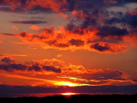 Sunset, Sunrise, Sky, Orange Sky, Clouds