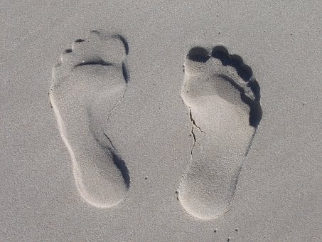 Cracked Footprints in the Sand