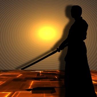 武道, サムライ, Silhuetten, 剣の芸術, 戦闘機, 影