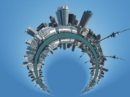 City, Skyline, District, Round, Arched