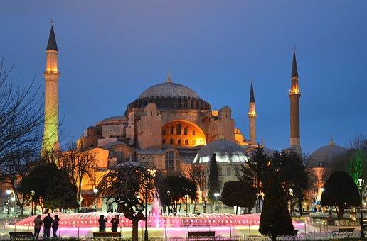 Hagia Sophia Ayasofya Night Sky Blue Minar