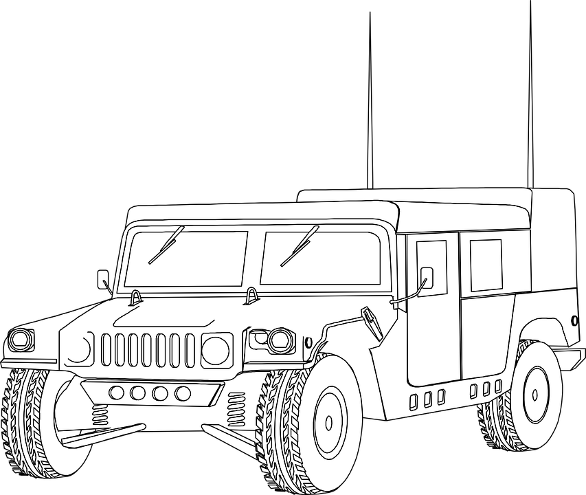 Hummer Humvee Vehicle Military Jeep Outline Car