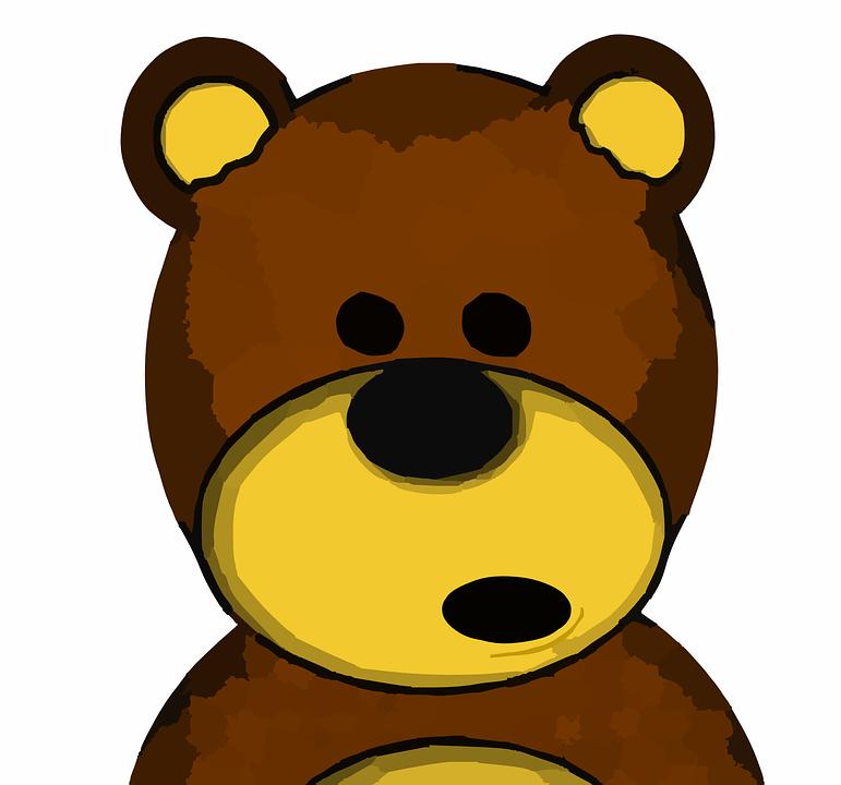 Cartoon teddy orso polare indossando scarpe con fumetto pensiero