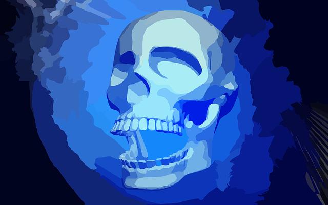 наверняка картинки череп на синем фоне уже представляете