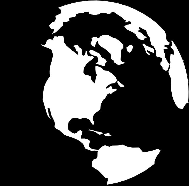 Globe World Earth White Black