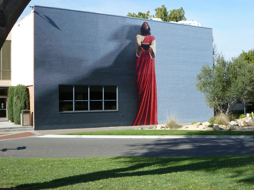 Free photo bible jesus mural painting biola free for Biola jesus mural