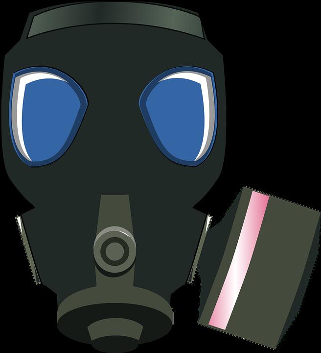 Masker Gas, Hitam, Perlindungan, Aman