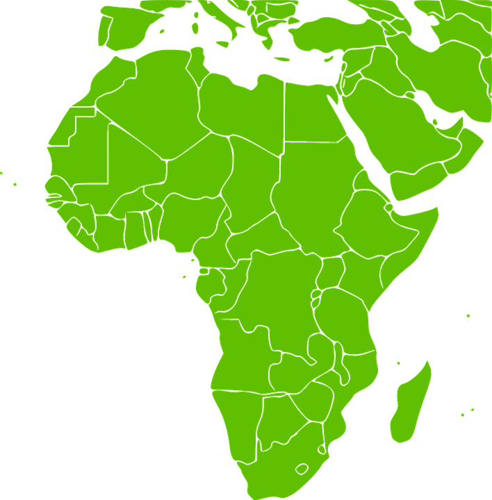 africa continent green map countries states