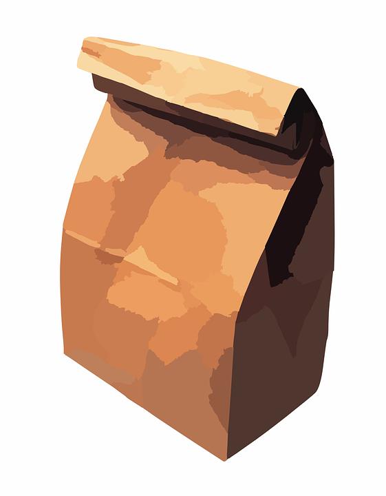 Papiertüte, Beutel, Lunchpaket, Brown