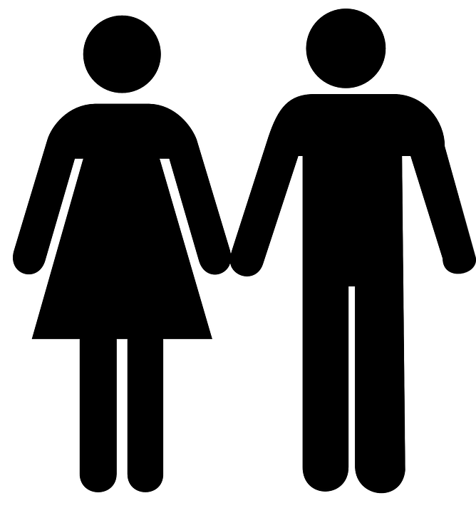 Bathroom Signs Holding Hands free vector graphic: man, woman, toilet, holding hands - free