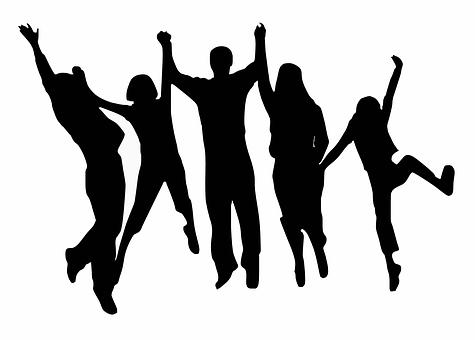 応援団, 幸せ, 跳躍, 人, シルエット, 応援, 家族, 応援, 応援