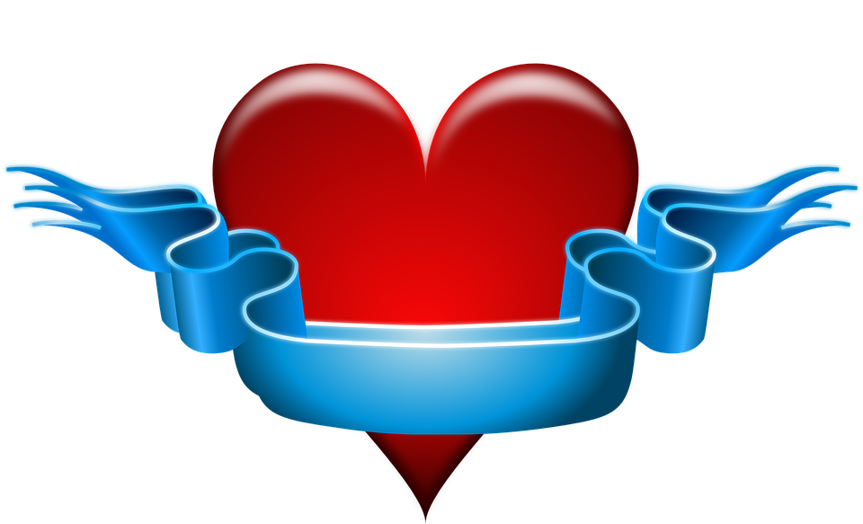 Free vector graphic: Heart, Ribbon, Red, Blue, Banner ...