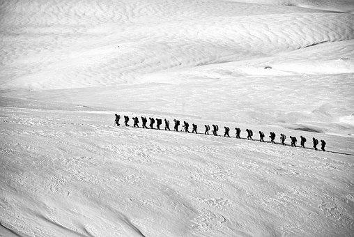Trekking, Hiking, Group, Alpine, Line