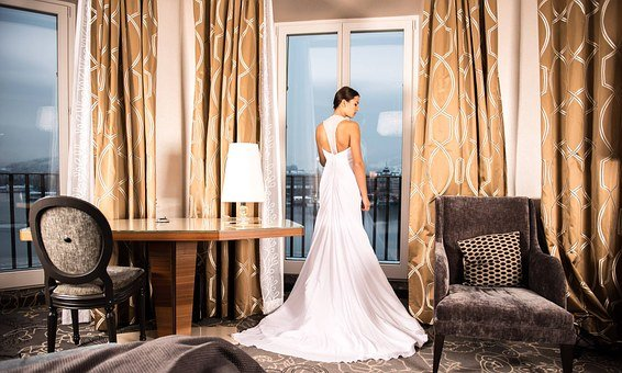 Bride, Hotel Room, Living Room
