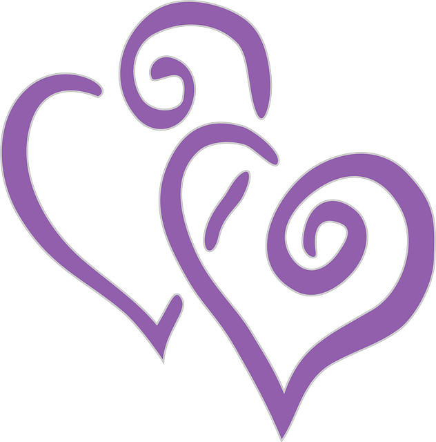 Purple Hearts Wedding Hearts Double Purple &...