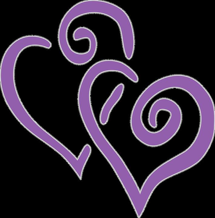 Herzen, Doppelzimmer, Lila, Liebe, Paar, Schneiden