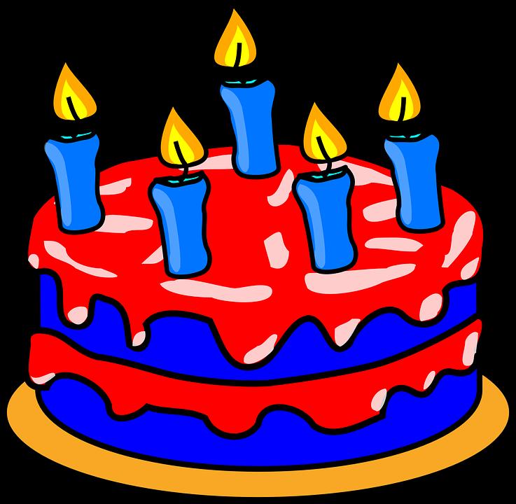 Torta Di Compleanno, Torta, Red, Blu, Cibo, Dessert