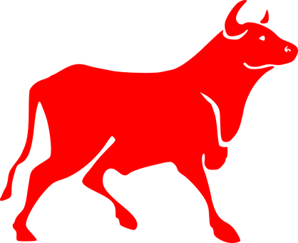 Bull Red Bovine Horns Silhouette Cow Anima