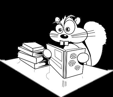 リス, 読書, 書籍, 驚き, ショック, 混乱, コミック, 漫画, 齧歯類