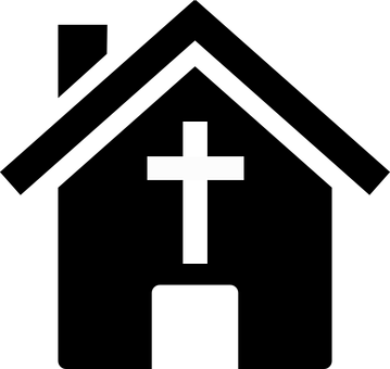 House, Icon, Silhouette, Cross