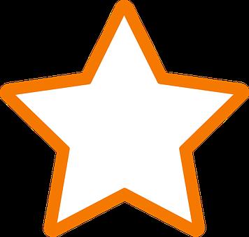 Star, Favorite, Orange, Outline, Rating