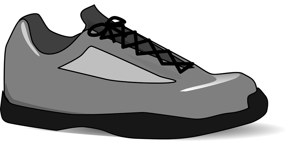Tennis-Shoe, Isolated, Grey, Laces