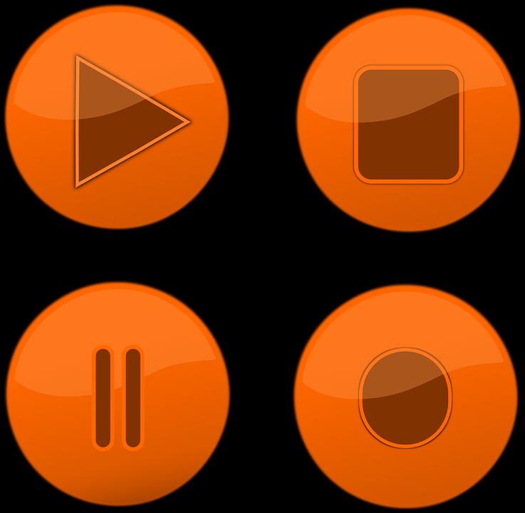 Botões, Parar, Registo, Pausar, Jogar, Símbolo, Jogador