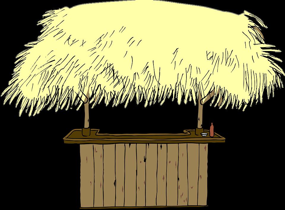 Hut Straw Roof Beach Bar Counter
