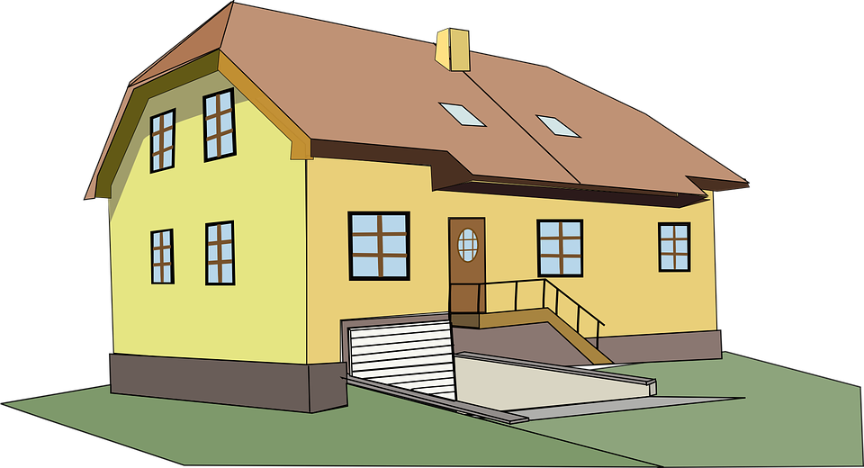 Free vector graphic house home 2 story yellow big for Big two story houses