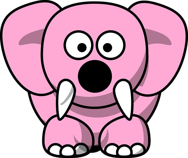 Cute pink elephant cartoon - photo#17
