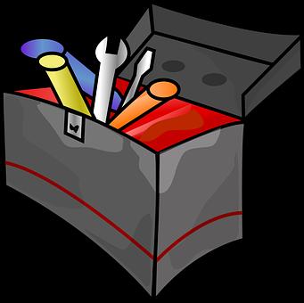 Boîte À Outils, Outils, Marteau, Clé