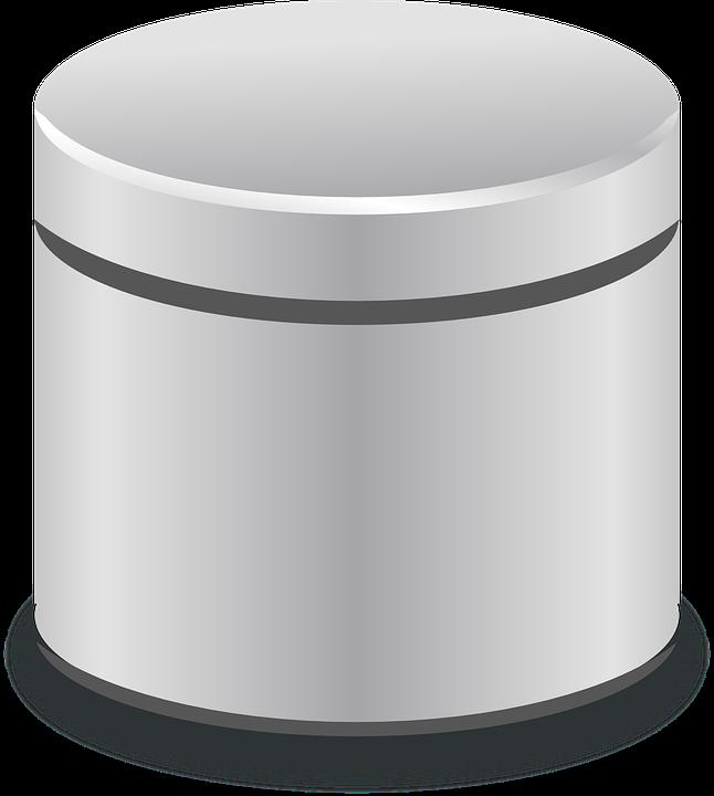 Database Cylinder Metallic Server 304970 on Transparent Gold Chain