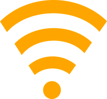 Wireless, LAN, ethernet broadcast represented by yellow billowing waves from a circular point