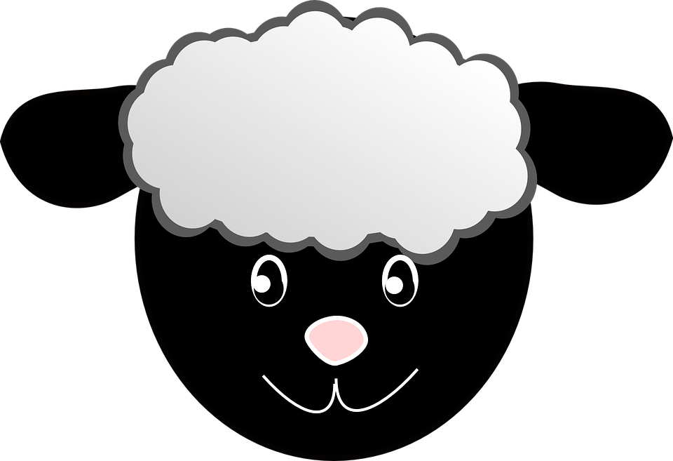 sheep head happy face cartoon wool black