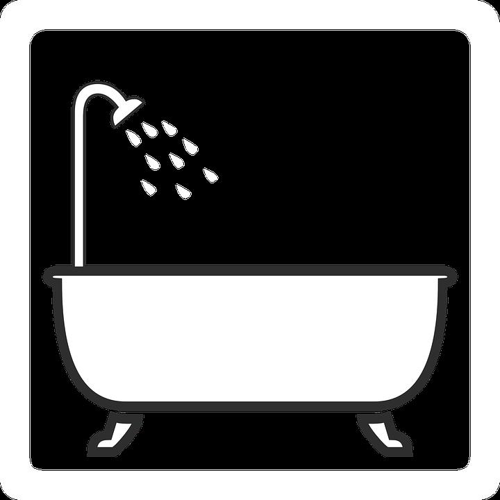Bathroom Clip Art Black And White: Shower Tub Bath · Free Vector Graphic On Pixabay