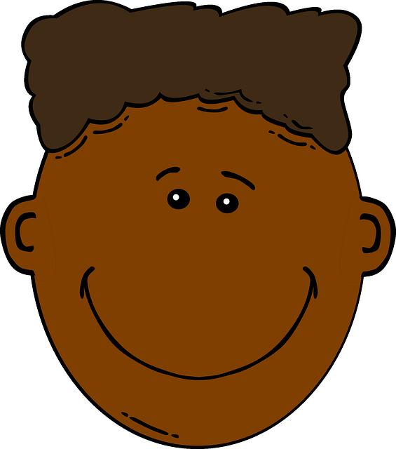 Boy Dark Skin Brown Hair Happy · Free vector graphic on ...