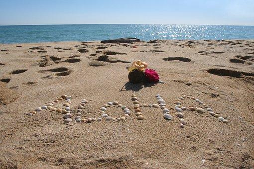 アロハ, ハワイ, 海, ビーチ, 海景, 空, 水, 砂, 波, 海岸, 沿岸