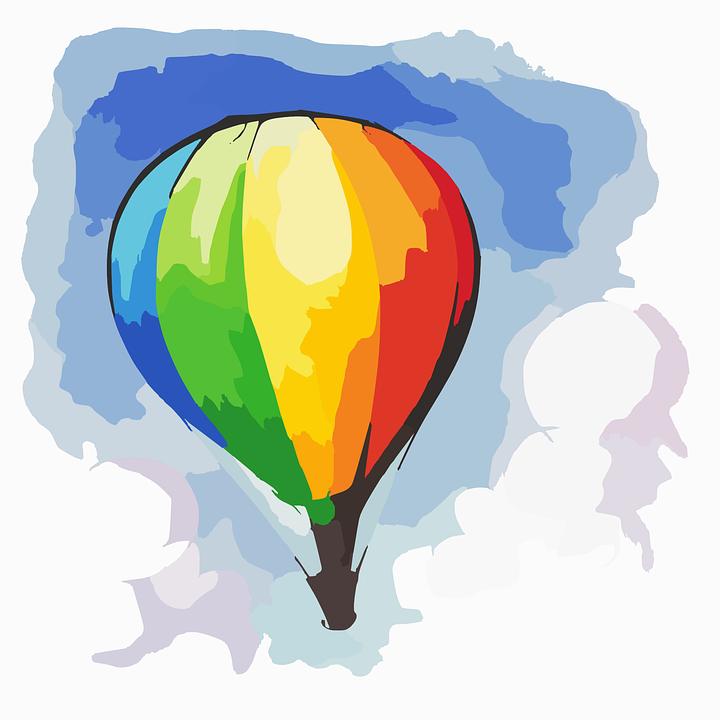 Sıcak Hava Balonu Gökkuşağı Akış Pixabayda ücretsiz Vektör Grafik