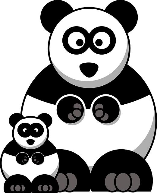 Immagine vettoriale gratis panda famiglia bambino - Panda a dessiner ...