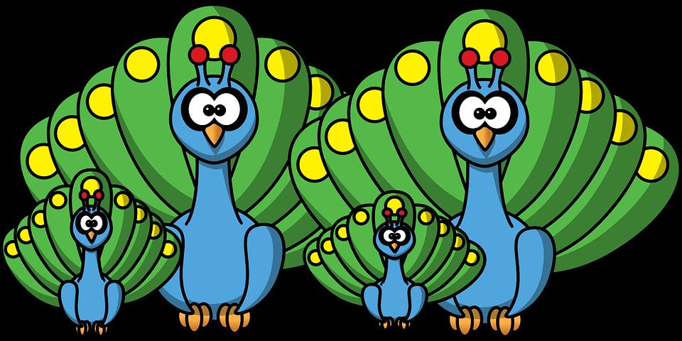 Vector Gratis: Pavo Real, Familia, Peachick, Aves