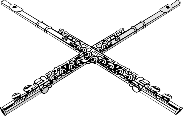 free vector graphic  flutes  crossed  music  ensemble