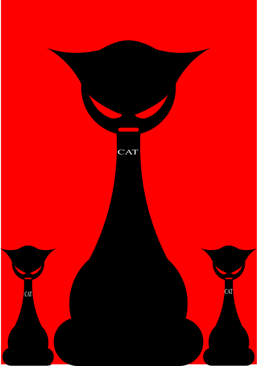 Cats, Evil, Gothic, Silhouette, Angry, Sit, Three, Red